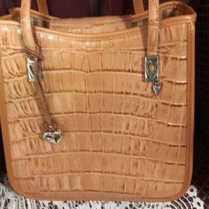 Brighton Bags - Brighton Tan Moc Croc Satchel/ Shoulder Purse